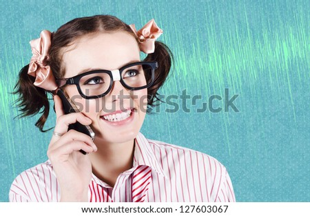 Funny Business Woman Using Wireless Infrared Technology While Talking On A Smart Mobile Phone - stock photo