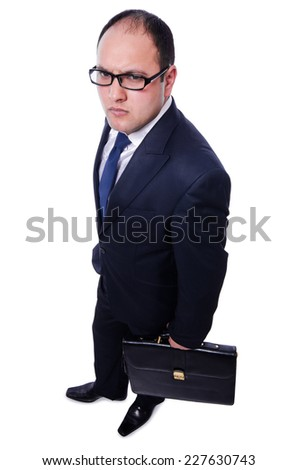 Funny businessman isolated on white - stock photo