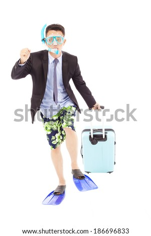 funny businessman put on scuba gear and holding a baggage - stock photo