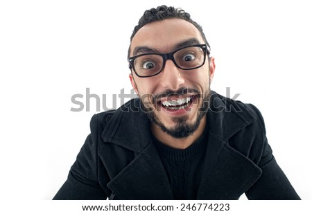 Funny Businessman with Crazy Expression isolated on white background,  - stock photo