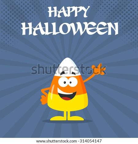 Funny Candy Corn Flat Design Waving. Raster Illustration With Bacground And Text - stock photo