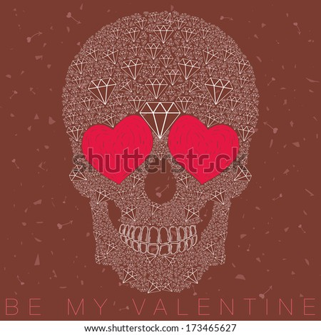funny, candy skull illustration with heart eyes, diamonds, brilliants. love and valentine's day - stock photo