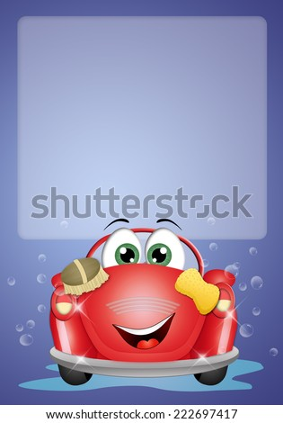 Funny car at car wash background - stock photo