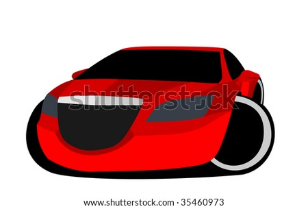 funny cartoon car - stock photo