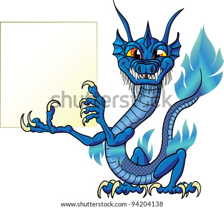 Funny cartoon chinese water dragon with sign - stock photo