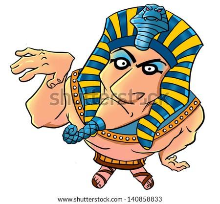Funny cartoon egyptian pharaoh - stock photo