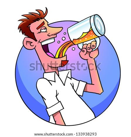 Funny cartoon man drinking  beer from  mug - stock photo