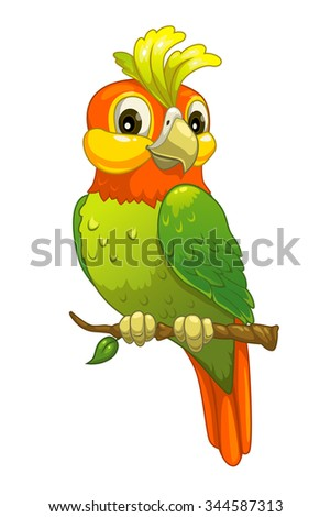 Funny cartoon parrot, isolated on white - stock photo