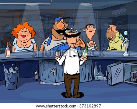 Funny cartoon people in bar - stock photo