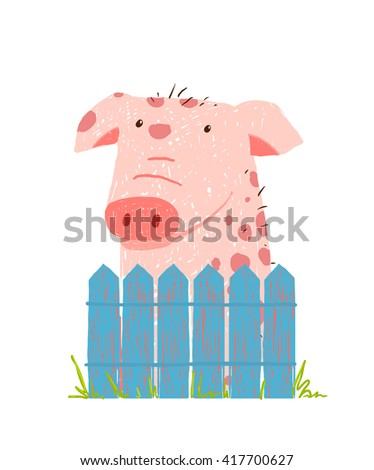 Funny Cartoon Pig Sitting over Fence . Childish hand drawn cartoon of a little pig on farm. Raster variant. - stock photo