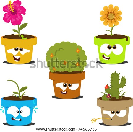 Funny cartoon pots with various plants - stock photo