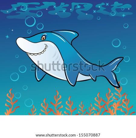 Funny cartoon shark in the sea - stock photo