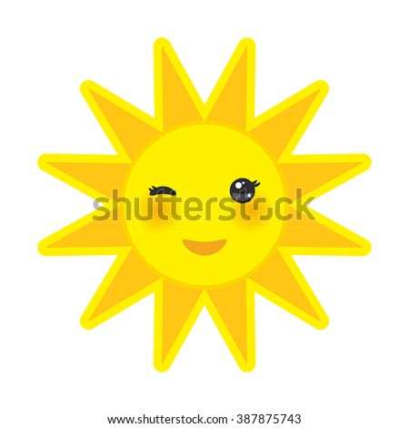 funny cartoon yellow sun smiling and winking eyes and pink cheeks, sun on white background.  - stock photo