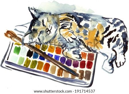 Funny cat sleeping at the set of colors watercolor illustration painting poster post card - stock photo