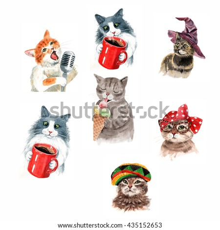 Funny cats watercolor illustration. Cute kitten eating ice cream. Cat in glasses. Cute cat with cup of coffee. Cat in Sorting Hat. Singing Cat with microphone. - stock photo