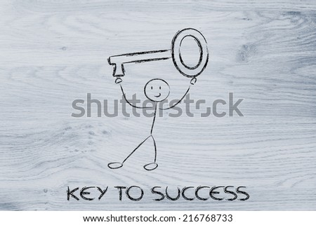 funny character holding key to success, funny design - stock photo
