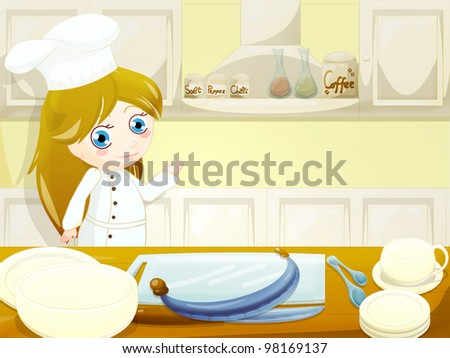 funny character in the kitchen with tools - stock photo
