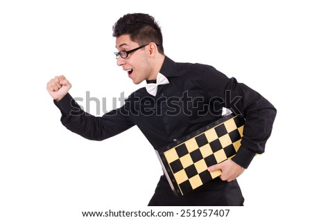 Funny chess player isolated on white - stock photo