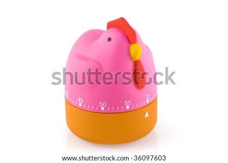 Funny chicken shaped egg timer, isolated on white. - stock photo