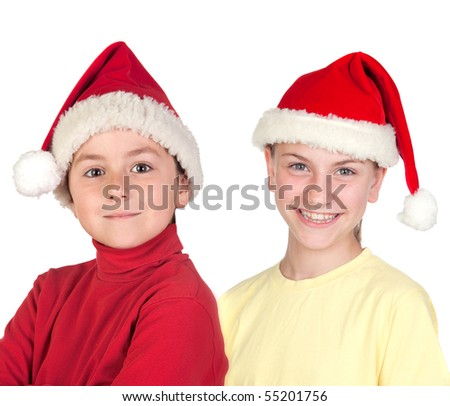 Funny child and smiling preteen with Santa Claus hat isolated on a over white background - stock photo