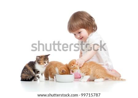 funny child girl feeding attractive kitten - stock photo
