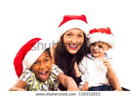Funny children and woman celebrating Christmas, isolated on white background. - stock photo