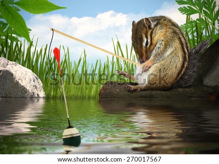 Funny chipmunk fishing with fishing-rod, angler concept - stock photo