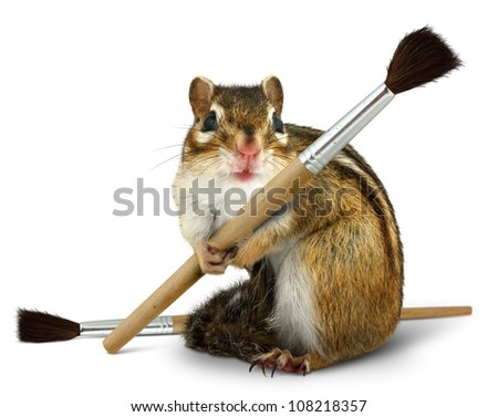Funny chipmunk hold paint brush, isolated on white background - stock photo