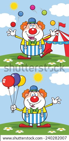 Funny Clown Cartoon Character 2. Raster Collection Set - stock photo