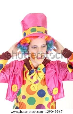 Funny clown, child, girl, female - stock photo