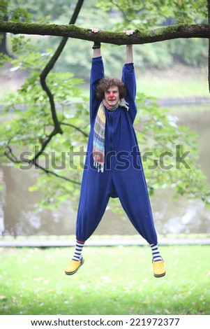 Funny clown hanging on the tree branch doing sport exercises - stock photo