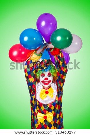 Funny clown isolated on the white - stock photo