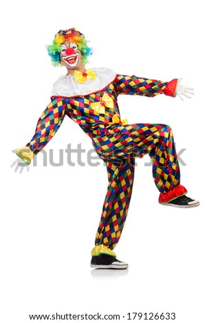 Funny clown isolated on white - stock photo