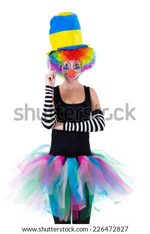 Funny clown isolated on white background - stock photo