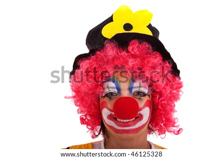 funny clown looking to you (isolated on white) - stock photo