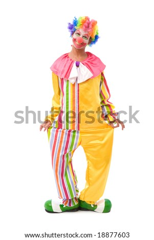 funny clown making a face on white background - stock photo