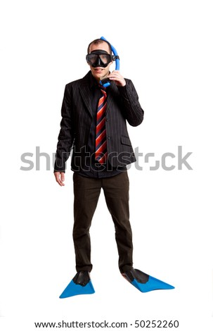Funny concept of a businessman with a scuba mask isolated on white - stock photo
