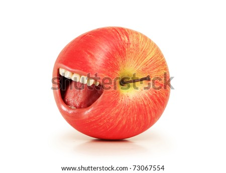 Funny concept with red apple and open mouth - stock photo