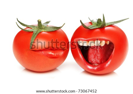 Funny concept with tomatoes and open mouth - stock photo