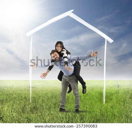 Funny couple dreams of a future family - stock photo
