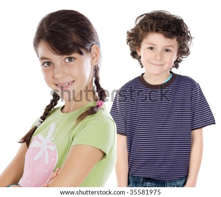 Funny couple of children on a over white background - stock photo
