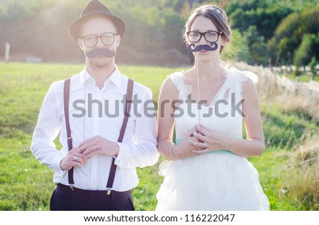 Funny couple on e-session. Preparing for wedding potography. - stock photo
