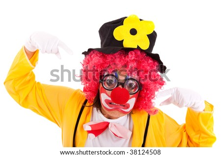 funny crazy clown with a strange face (isolated on white) - stock photo