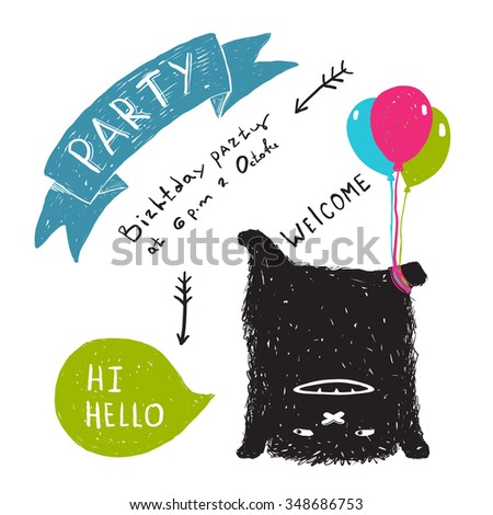 Funny Cute Little Black Monster Party Greeting Card or Invitation. Sweet kids playful upside down fictional character picture post card with a ribbon. Raster variant. - stock photo