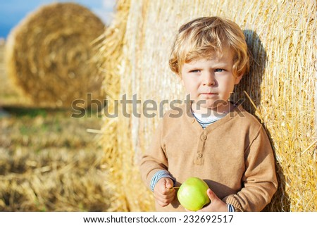 Funny cute little kid boy eating organic apple on late summer day on wheat field with haybales. - stock photo