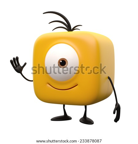 Funny 3d render button, cheerful boy with one eye, web icon, mascot representative for websites, television icon, monitoring, humorous universal representative object isolated on white background - stock photo