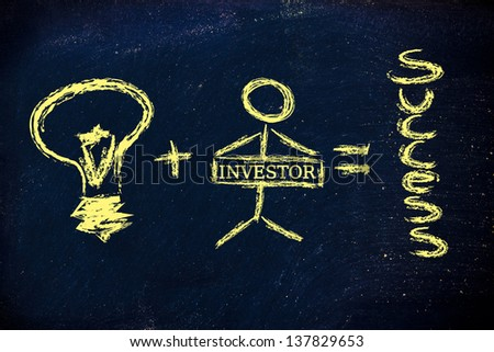 funny design representing how a good idea and a determined individual create success - stock photo