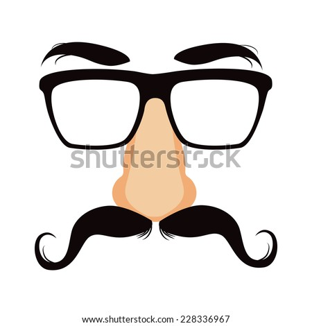 Funny disguise mask with glasses, big fake nose, mustache and heavy eyebrows - stock photo