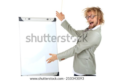 Funny doctor with board isolated on white - stock photo