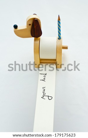 funny dog notepad with pencil - stock photo